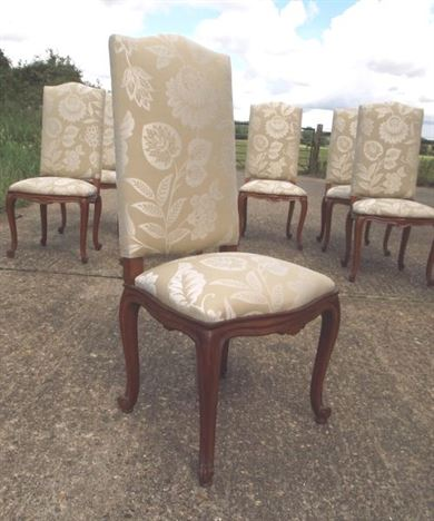 Set Of Antique Chairs - Set Of 8 Eight French High Back Oak Dining Chairs - ANTIQUE FURNITURE WAREHOUSE - Set Of Antique Chairs - Set Of 8 Eight
