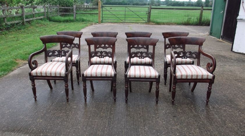 Set Of Eight 8 Regency Period Mahogany Dining Chairs