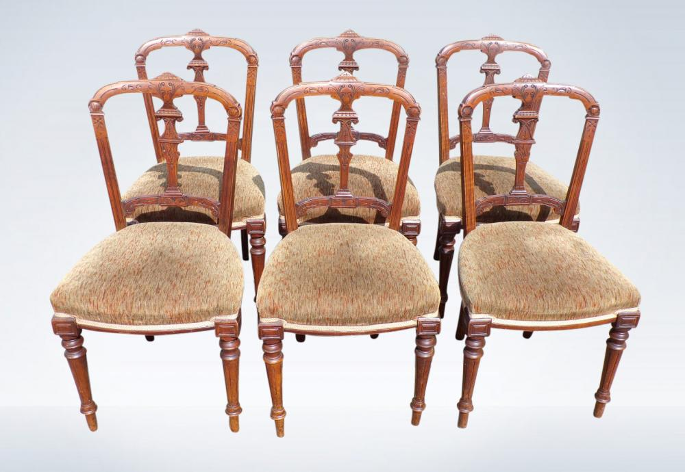 Set Of Six Antique Victorian Dining Chairs In Walnut