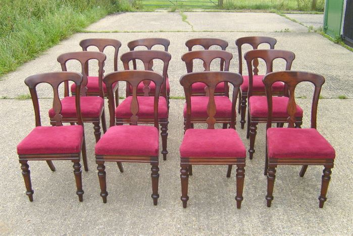 Set Of Twelve Antique Dining Chairs - Set Of Twelve Victorian Dining Chairs  With Bar Backs - ANTIQUE FURNITURE WAREHOUSE - Set Of Twelve Antique Dining Chairs