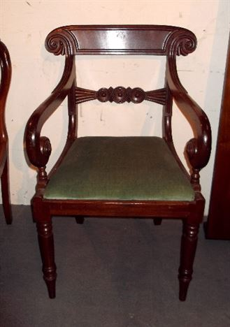 Set Six Georgian Mahogany Chairs - Set 6 Decoratively Carved Regency Period Bar Back Dining Chairs