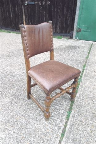 Set Ten Antique Dining Chairs - Set 10 Victorian Oak Framed And Tan Leather Refectory Chairs