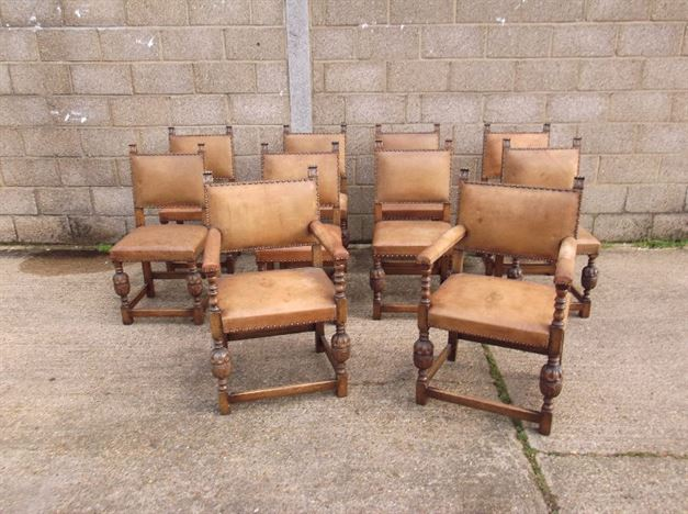 Set Ten Antique Oak Leather Chairs - Set 10 Oak And Leather Chairs, 8 Singles And 2 Carvers