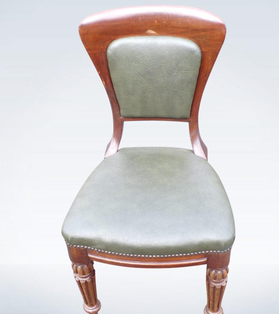 Set Ten Post Regency Mahogany Dining Chairs With Carvers