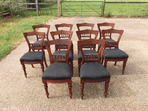 Set Ten Victorian Antique Dining Chairs - 10 Late Victorian Mahogany Dining  Chairs With Etched Carving - ANTIQUE FURNITURE WAREHOUSE - Set Ten Victorian Antique Dining