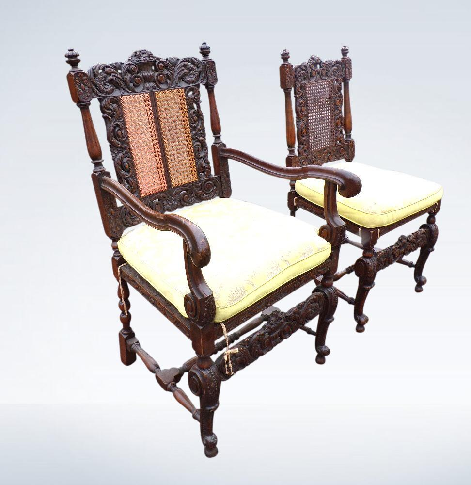 Set Twelve Antique Dining Chairs Carolean Cane Work