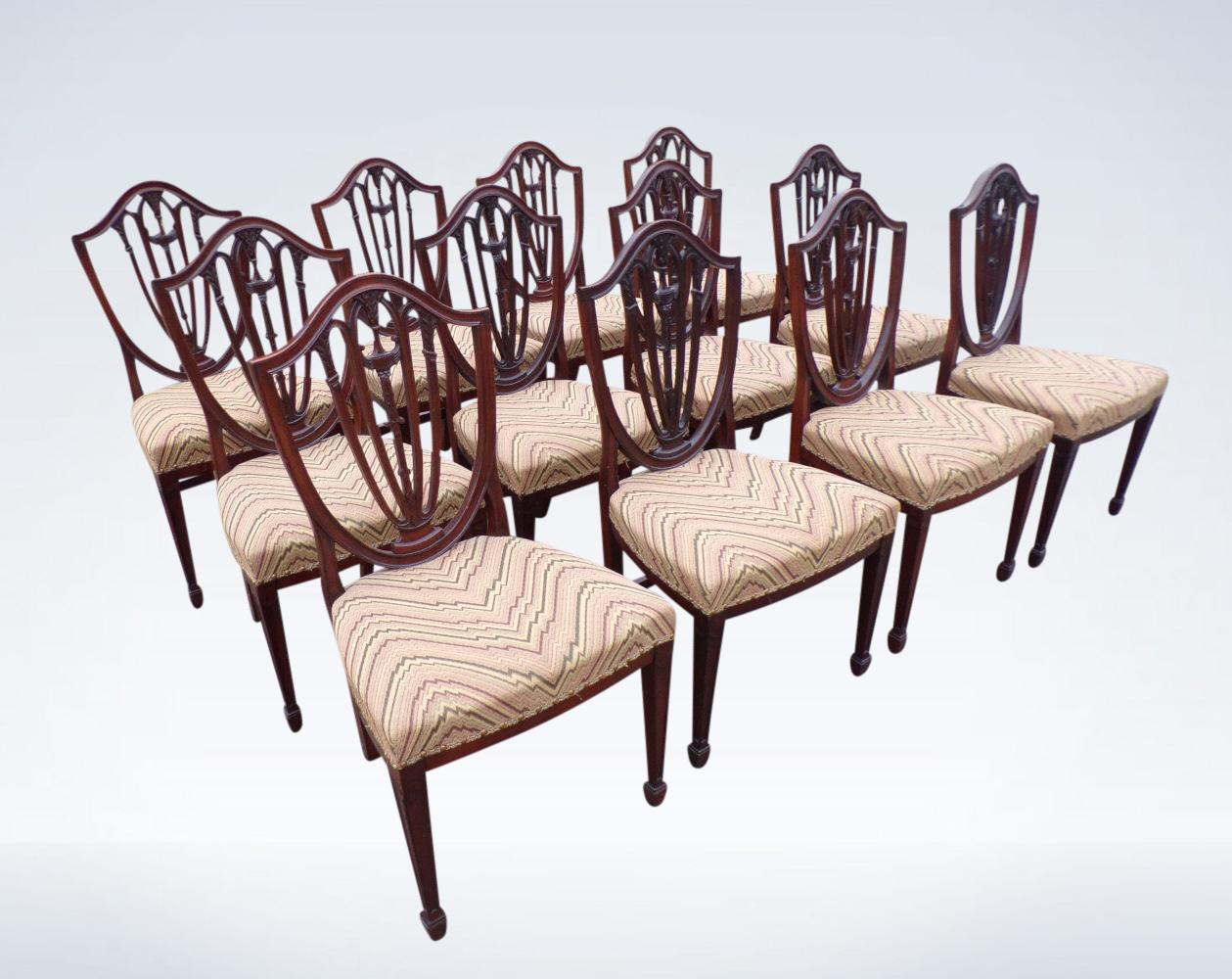 Set Twelve Antique Mahogany Dining Chairs Georgian Hepplewhite Revival