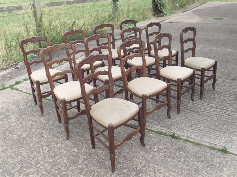 Set Twelve Antique Oak Chairs - Set of 12 French Oak Ladder Back Dining Chairs & ANTIQUE FURNITURE WAREHOUSE - Set Twelve Antique Oak Chairs - Set of ...