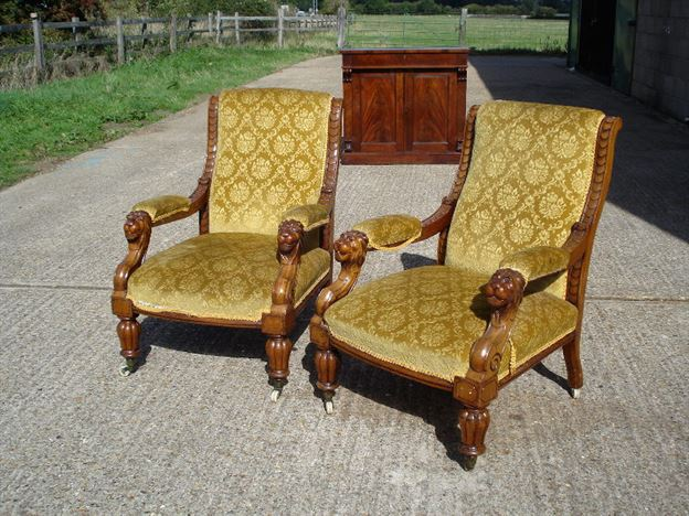 Stunning Pair Of Early Period Mahogany Library Chairs With Lions Head Arms - ANTIQUE FURNITURE WAREHOUSE - Stunning Pair Of Early Period Mahogany