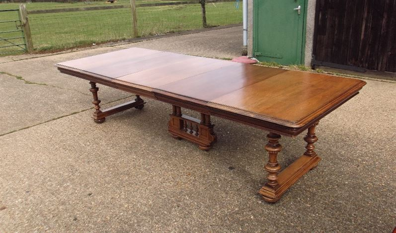 Three Metre French Table - 10ft Late 19th Century Walnut Extending Table On Trestle Base Supports