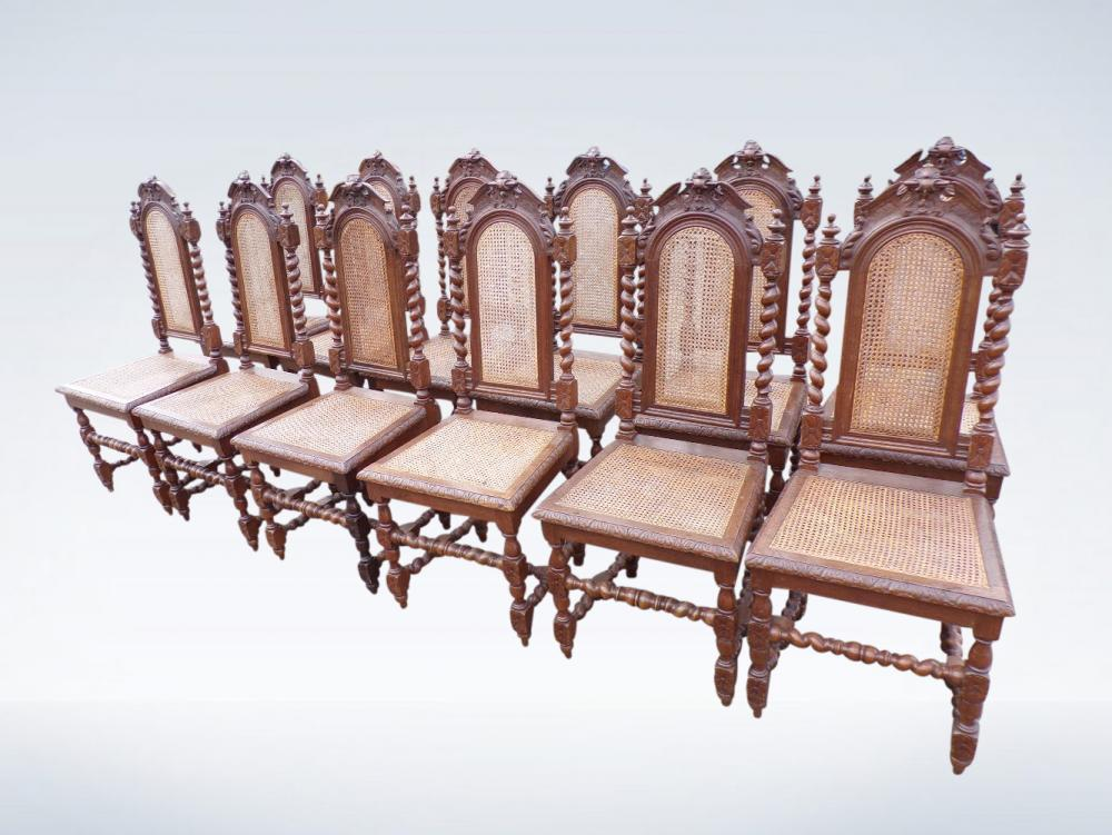 Twelve Antique Jacobean Oak High Back Dining Chairs