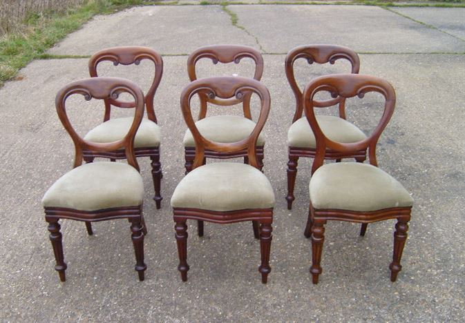 Victorian Balloon Back Chairs   Set Of Six Victorian Balloon Back Mahogany  Dining Chairs
