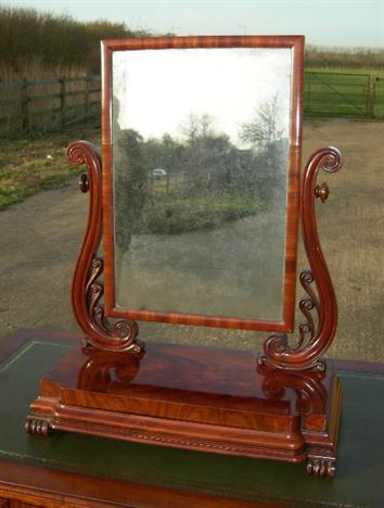Victorian Dressing Table Mirror - Mid Victorian Mahogany Dressing Table Toilet Mirror