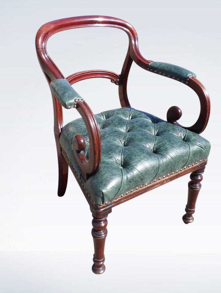 Victorian Library Desk Chair Leather Deep Button