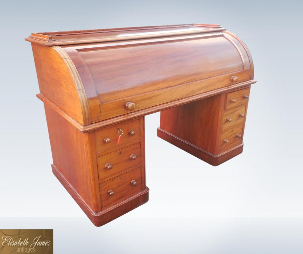 Victorian Mahogany Roll Top Cylinder Estate Desk