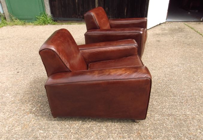 Vintage Leather Chairs - Pair Of 1930s Leather Club Armchairs & ANTIQUE FURNITURE WAREHOUSE - Vintage Leather Chairs - Pair of 1930s ...